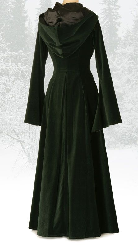 Beltane Coat - forest green velvet with deep hood £150 I love... Love now to find one that will look good over a 40E chest.