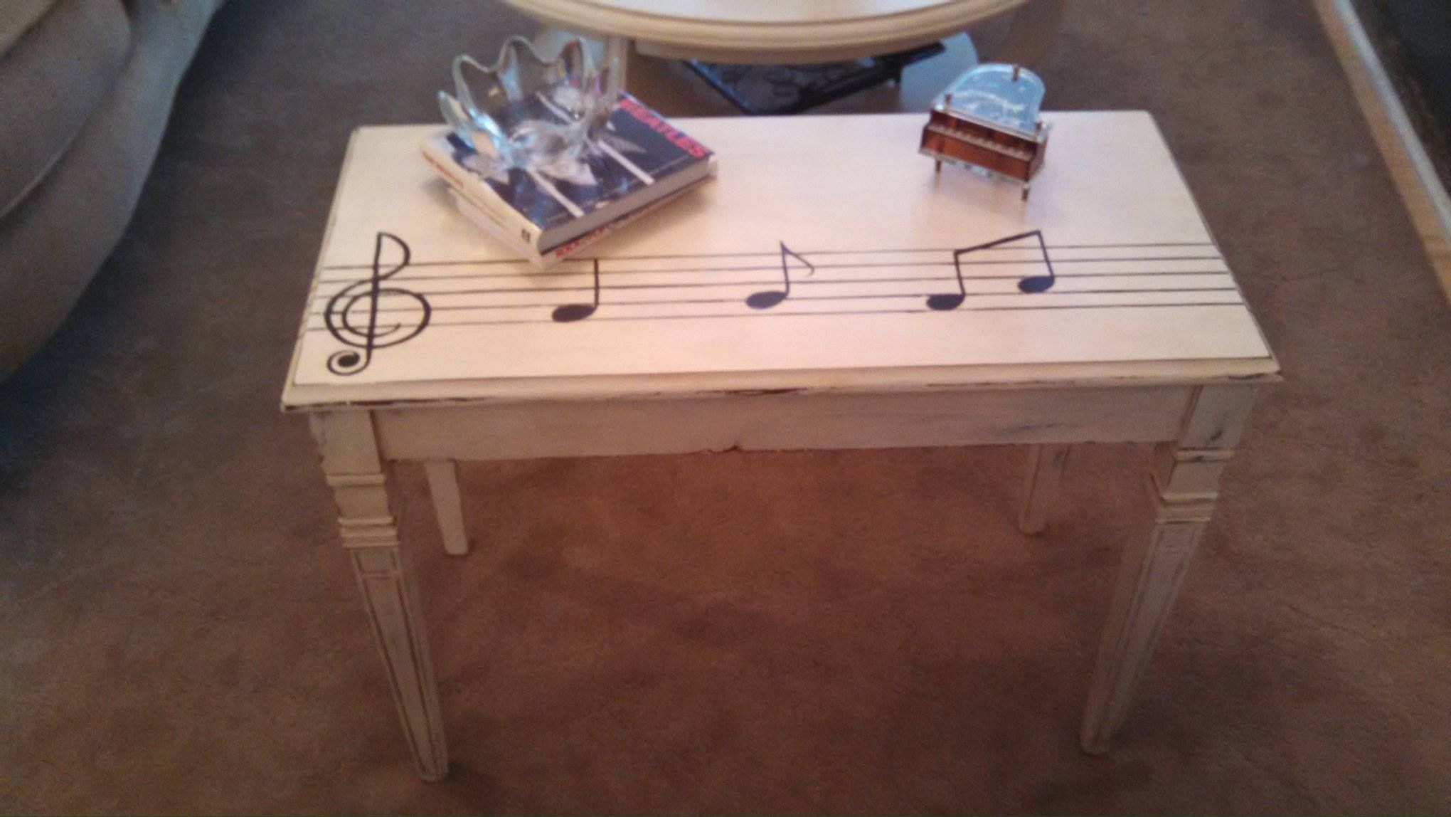 Upcycled Piano Bench Hand Painted Distressed Painted