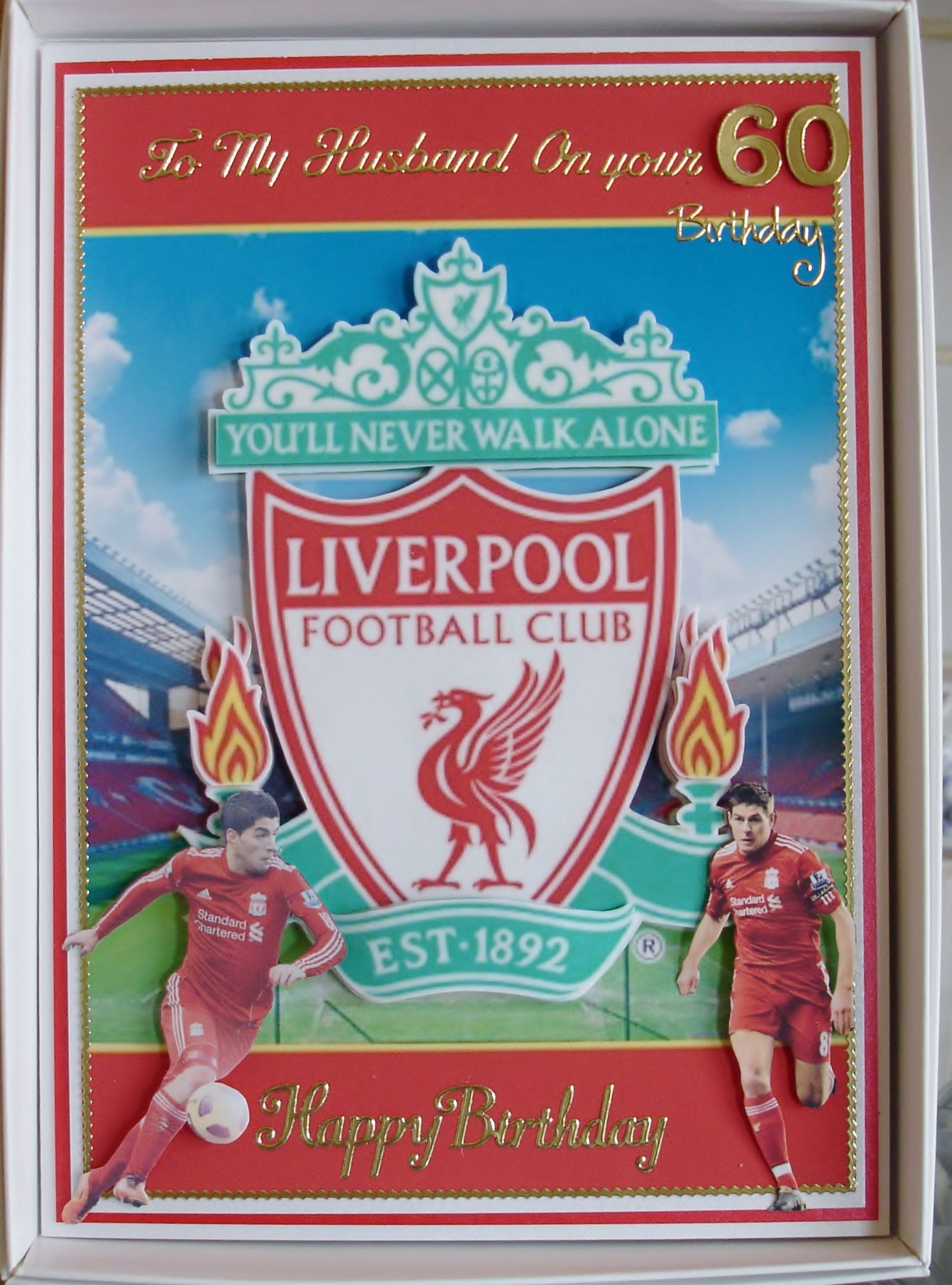 Decoupage Card I Made For A Friends Husband Who Is Mad About Liverpool Football Club Boy Cards Male Cards Cricut Cards