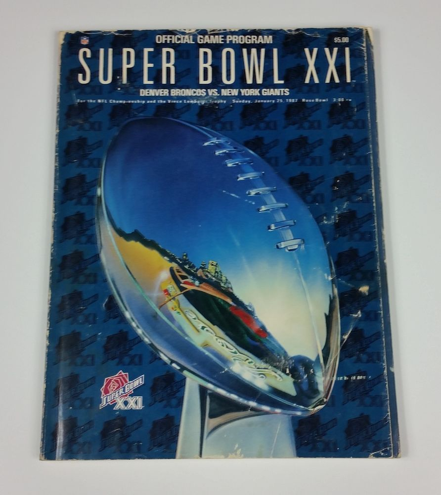 new styles bea2c 5f7bc Details about Super Bowl XXI (21) program Giants vs Denver ...