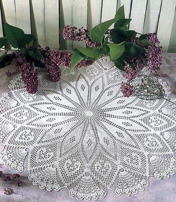 Pattern Of Round Circle Filet Crochet Cotton White By Jehandmade