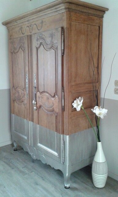 Coup de jeune pour mon armoire normande peinture argent - Peindre une armoire ancienne ...