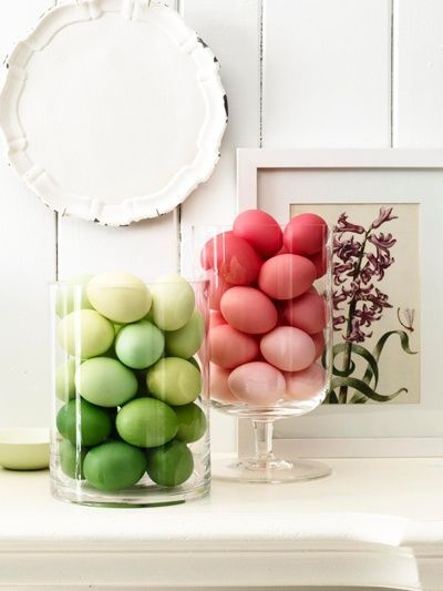 For future reference: dye groups of eggs in similar color families, display in glass vessels. (I love the simplicity, the subtle variations in coloring.)