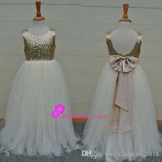 Bling Bling Sequined Flower Girls' Dresses with Jewel Neck Sequins Little Girls Pageant Ball Gowns Long First Communion Dresses for Girls Online with $99.5/Piece on Xiaoxiao_2016's Store | DHgate.com