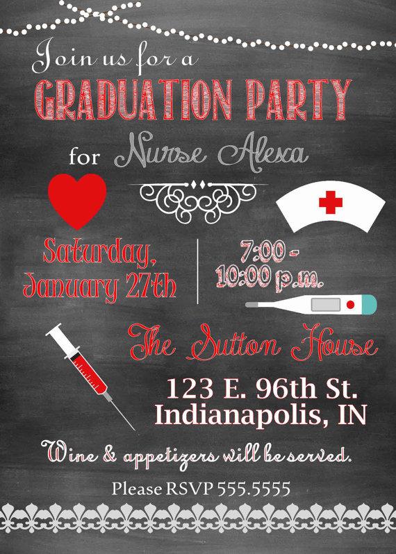 Digital Chalkboard Style Nurse Graduation Party Invitation You Print