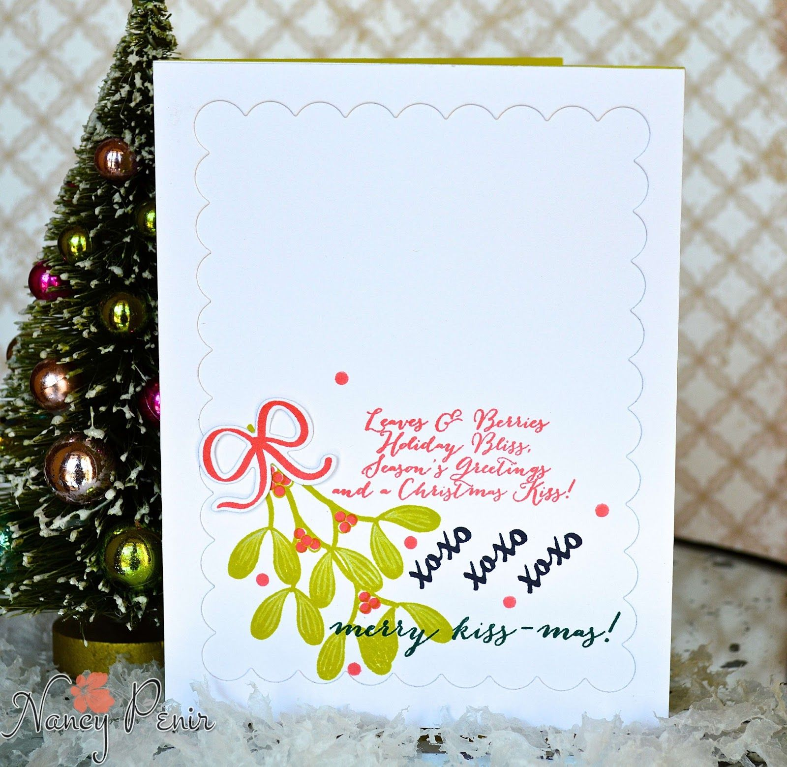 PTI: Merry Kiss-mas Inks: Berry Sorbet, Limeaid Ice, True Black, Pinefeather Embroiderd Frames: Dots (negative image) from Papertrey Ink