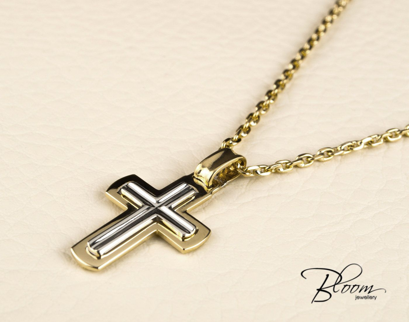 Mens Cross Necklace 14K White and Yellow Gold Chain Mens ...
