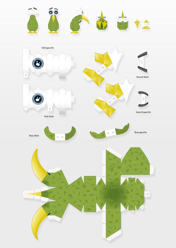Personnage Kiwee et son paper toy on Behance, illustrator, graphic design, print