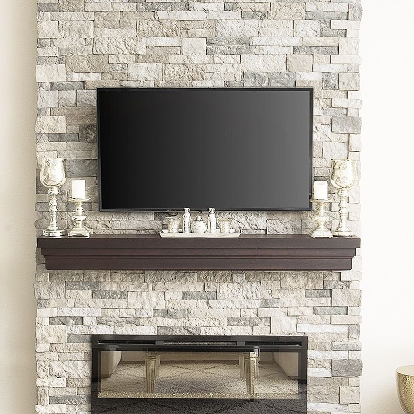 Stone fireplace  electric fireplace  faux stone  mantle decor  stone veneer  faux mantle
