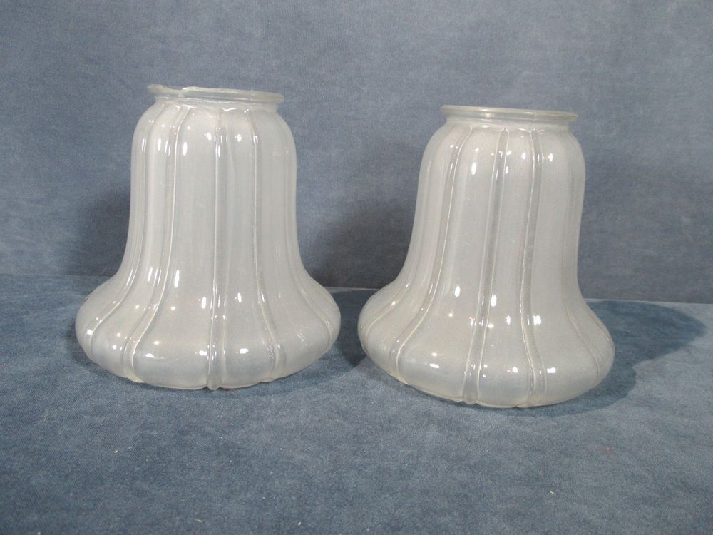 Lamp Shades Frosted Glass Ribs VTG Chandelier Sconce ...