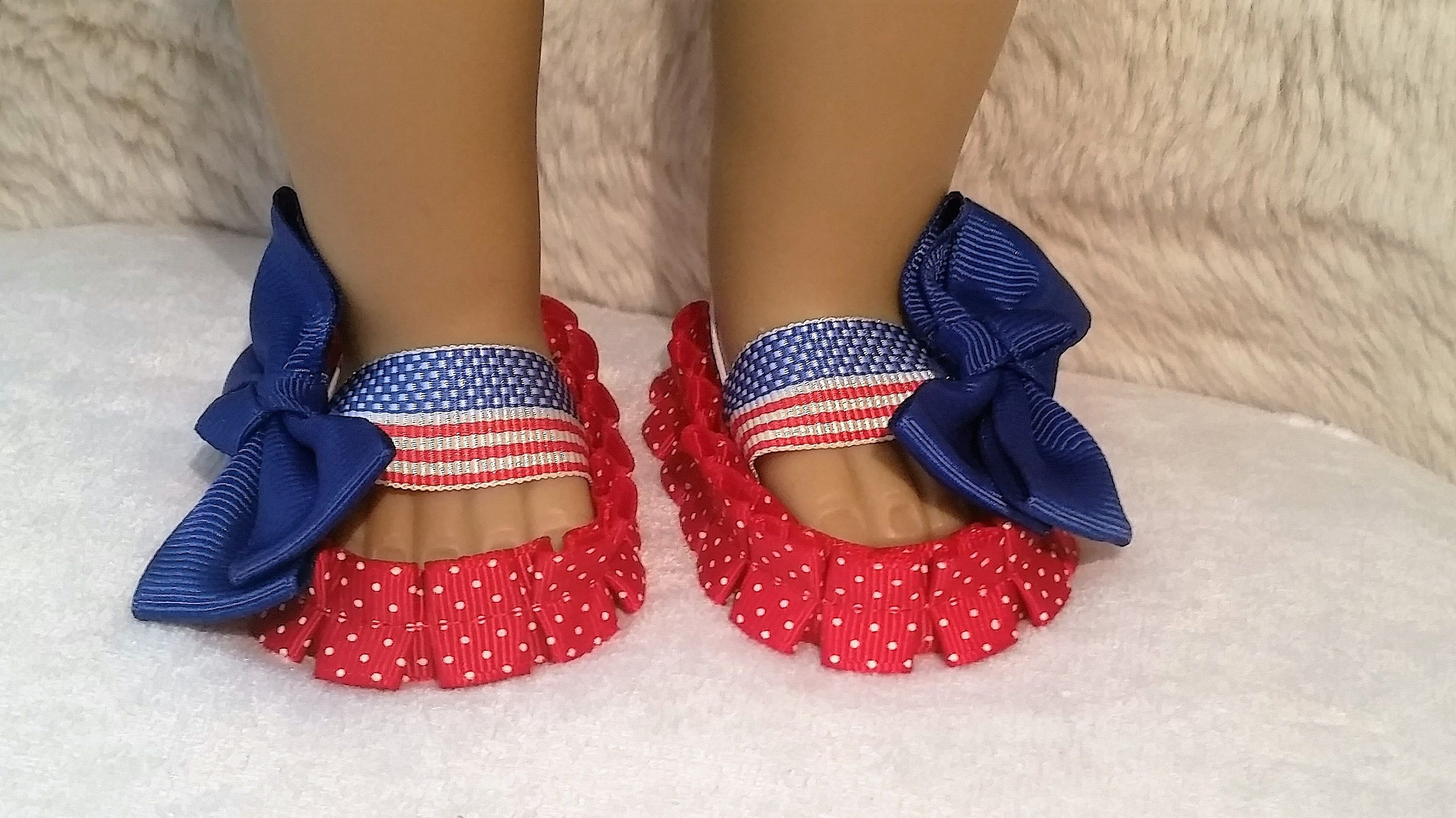 Baby Blue Scalloped Dress Shoes for 18 American Girl Doll
