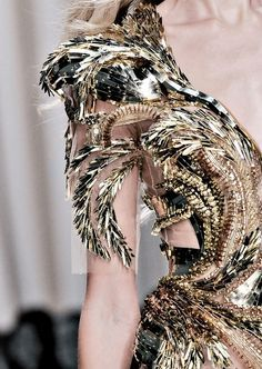 Fashion Gold... luxurious gold dress with an intricately structured raised pattern; closeup couture; opulent fashion // Valentin Yudashkin