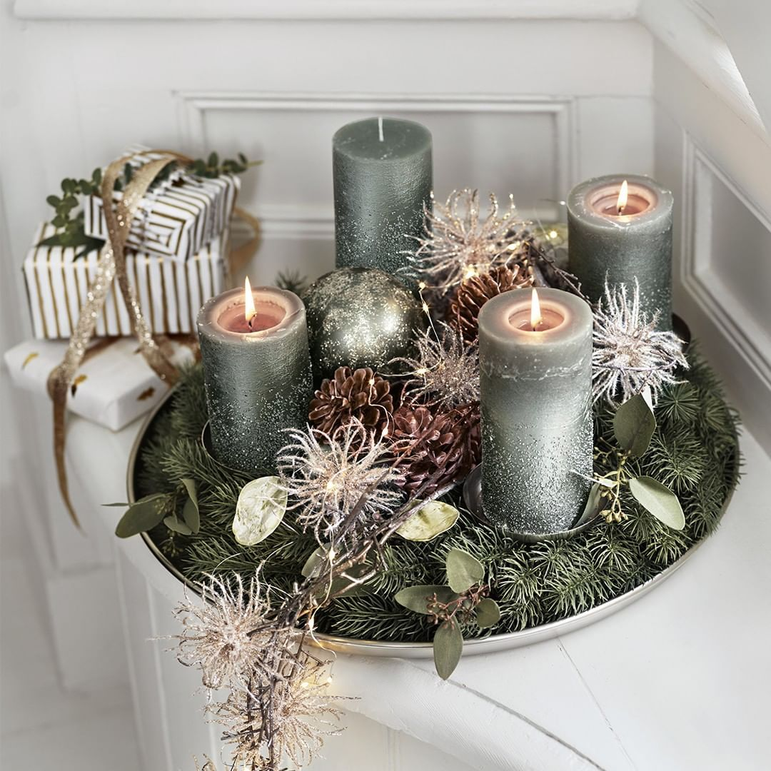 "Photo of DEPOT on Instagram: ""Naturally beautiful ? The cool earth tones and glitter elements make this advent wreath a special pre-Christmas highlight. . . #depot…"""