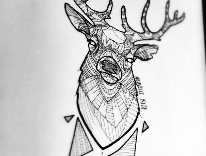 Tatouages g om triques belle id e ou tendance qui va s 39 vaporer tatouages - Tatouage cerf signification ...