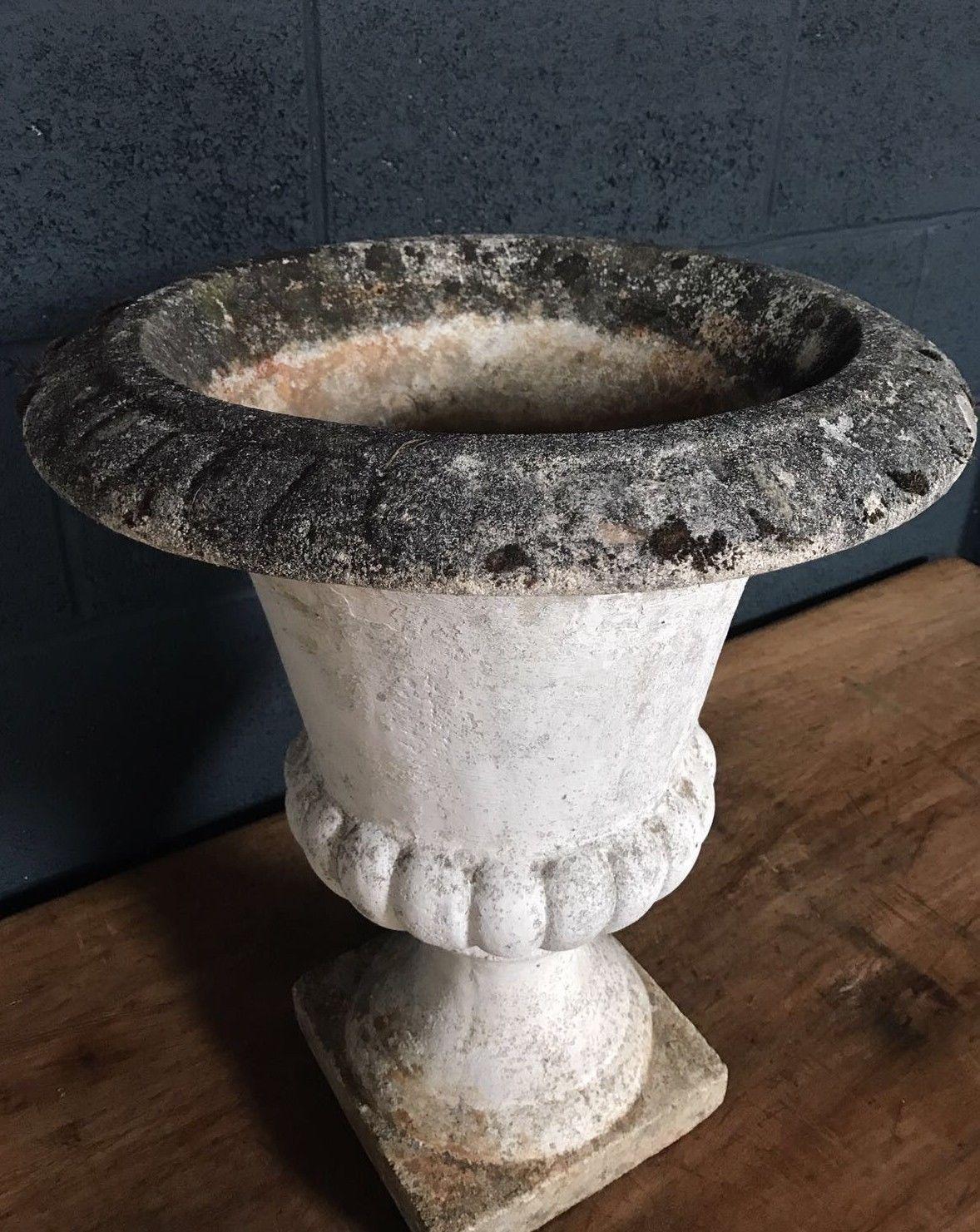 Vintage Antique Large French Stone Garden Urn Planter