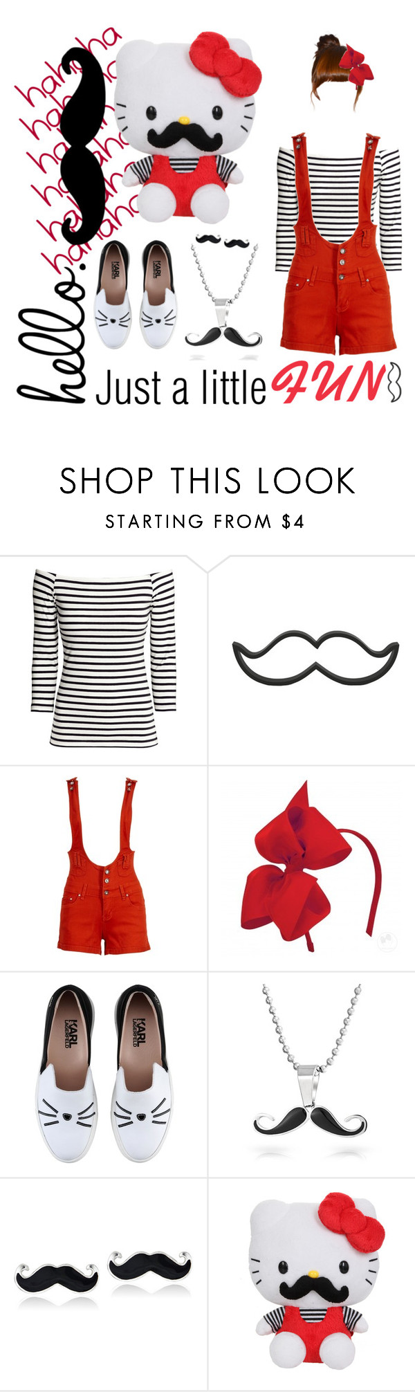 """""""Mustache - Hello Kitty Inspired"""" by micheladavite ❤ liked on Polyvore featuring H&M, Karl Lagerfeld, Bling Jewelry, Mondevio, ELSE and mustache"""