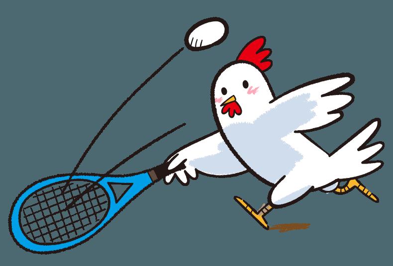 テニス ボールを追うにわとり イラスト Gogons Magazine テニス