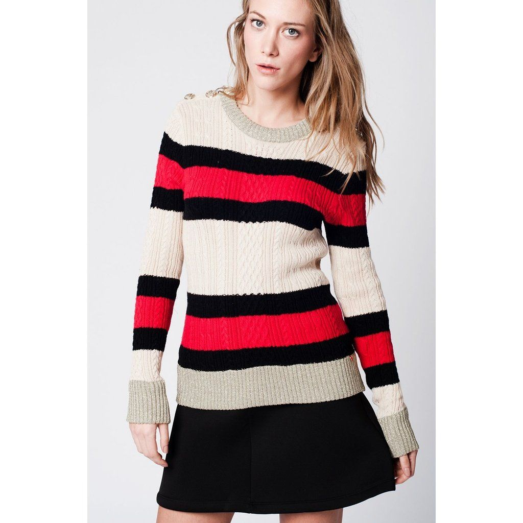 beige striped sweater with Buttoned shoulder detail