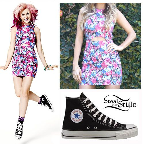 Little Mix appeared in the June 2013 Issue of Seventeen Magazine. In one of the shots, Perrie is wearing a Lush Floral Cut-out Dress ($44.80) with a pair of Converse Chuck Taylor All-Star Sneakers ($55.00).