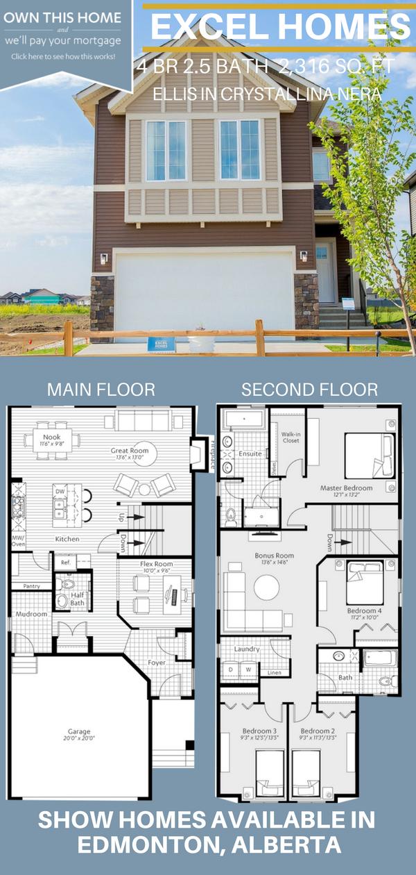 Modern Home Design Modern Home Architecture 2 Story Floor Plan Ellis By Excel Homes In Edmonton Family House Plans House Plans Australia House Blueprints