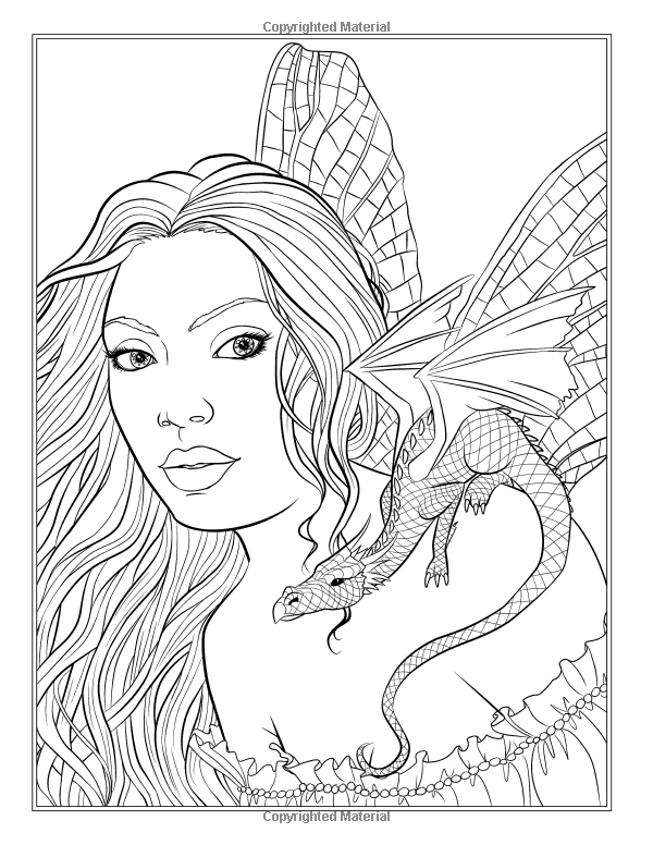 Fairy companions coloring book fairy romance dragons for Fantasy dragon coloring pages