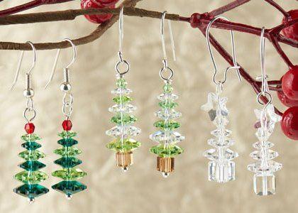 Use Swarovski Margarita Crystal Beads To Make Fun And Easy DIY  - Make Christmas Tree Earrings