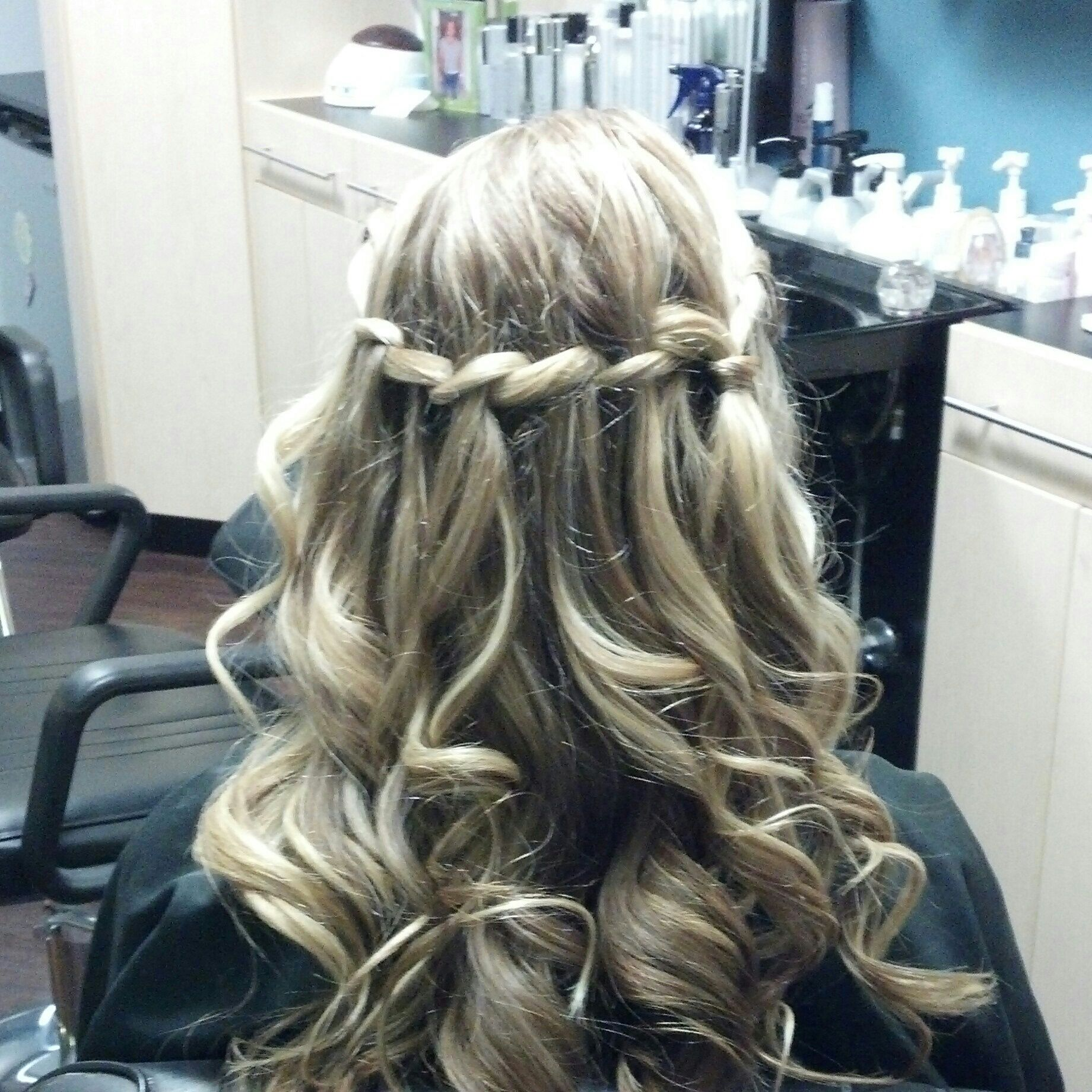 Waterfall braid updo homecoming wedding special occasion hair