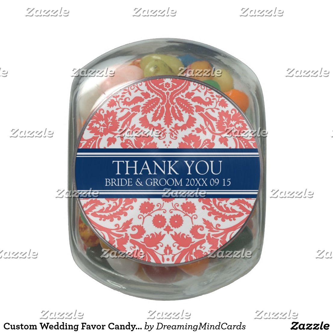 Custom Wedding Favor Candy Jar Coral Blue Damask | Wedding : Glass ...