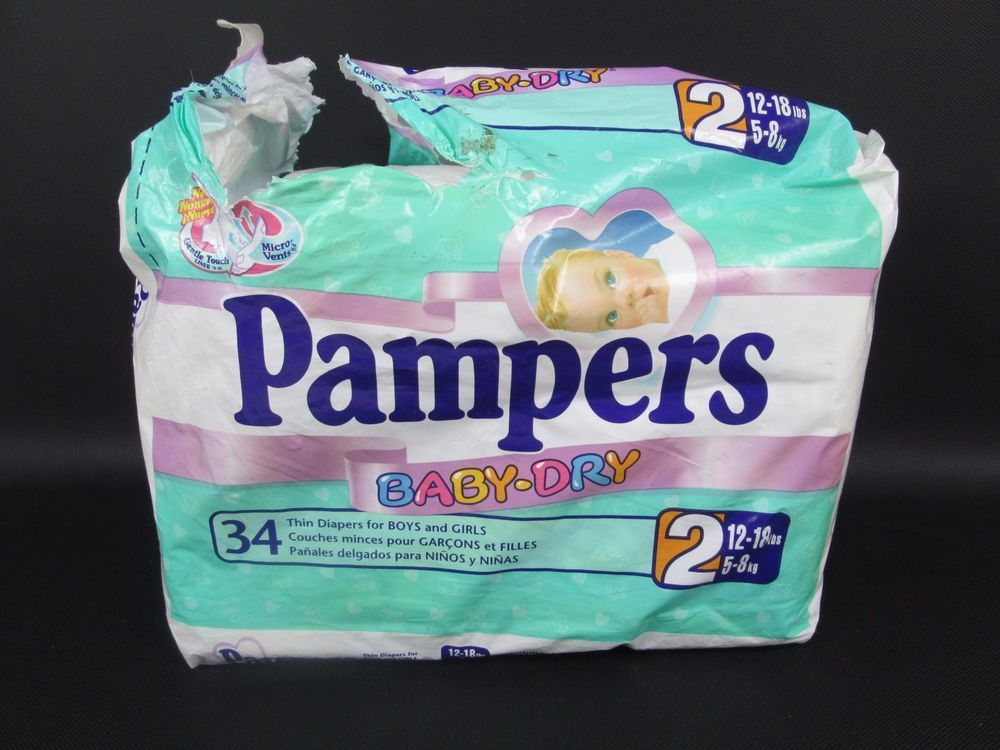 Vintage diapers PAMPERS PHASES plastic back 2 pack 1993
