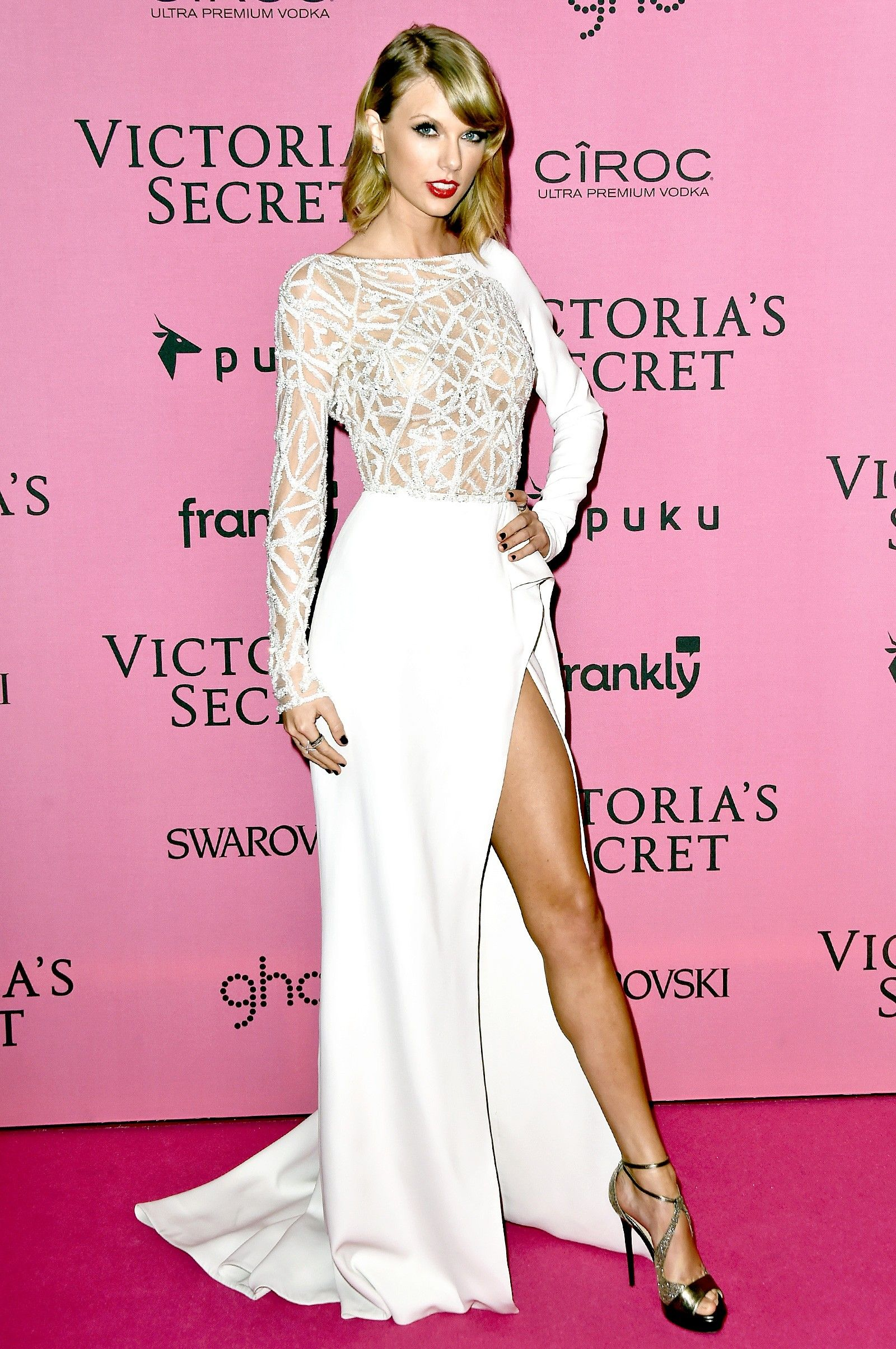 Taylor Swift White Long Sleeve Celebrity Dresses With Side Slit At ...