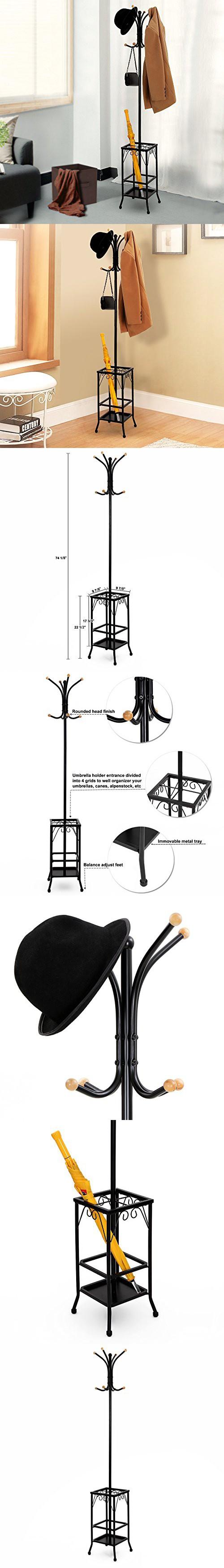 Songmics Standing Coat Rack with Umbrella Holder 8 Hooks Metal with Black Finish URCR25B