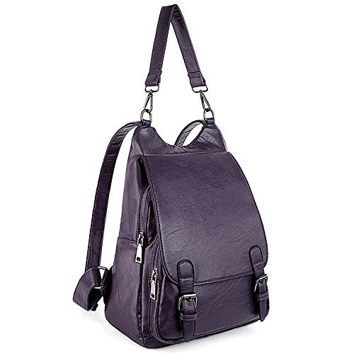 54618561aceb UTO Women Backpack Purse PU Washed Leather Large Capacity Security Ladies  Rucksack Shoulder Bag Purple