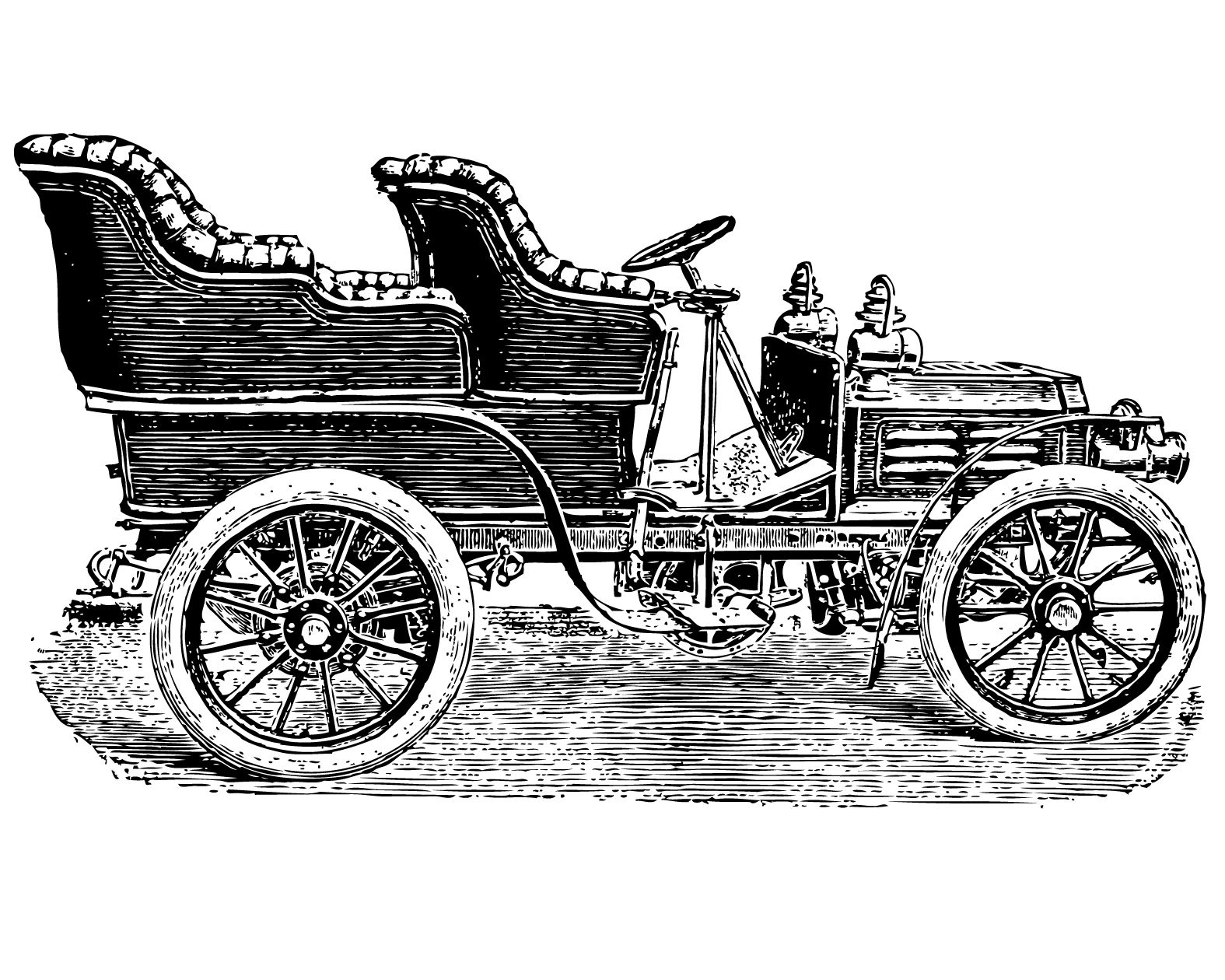 Vintage clip art of cars, coaches and horseless carriages