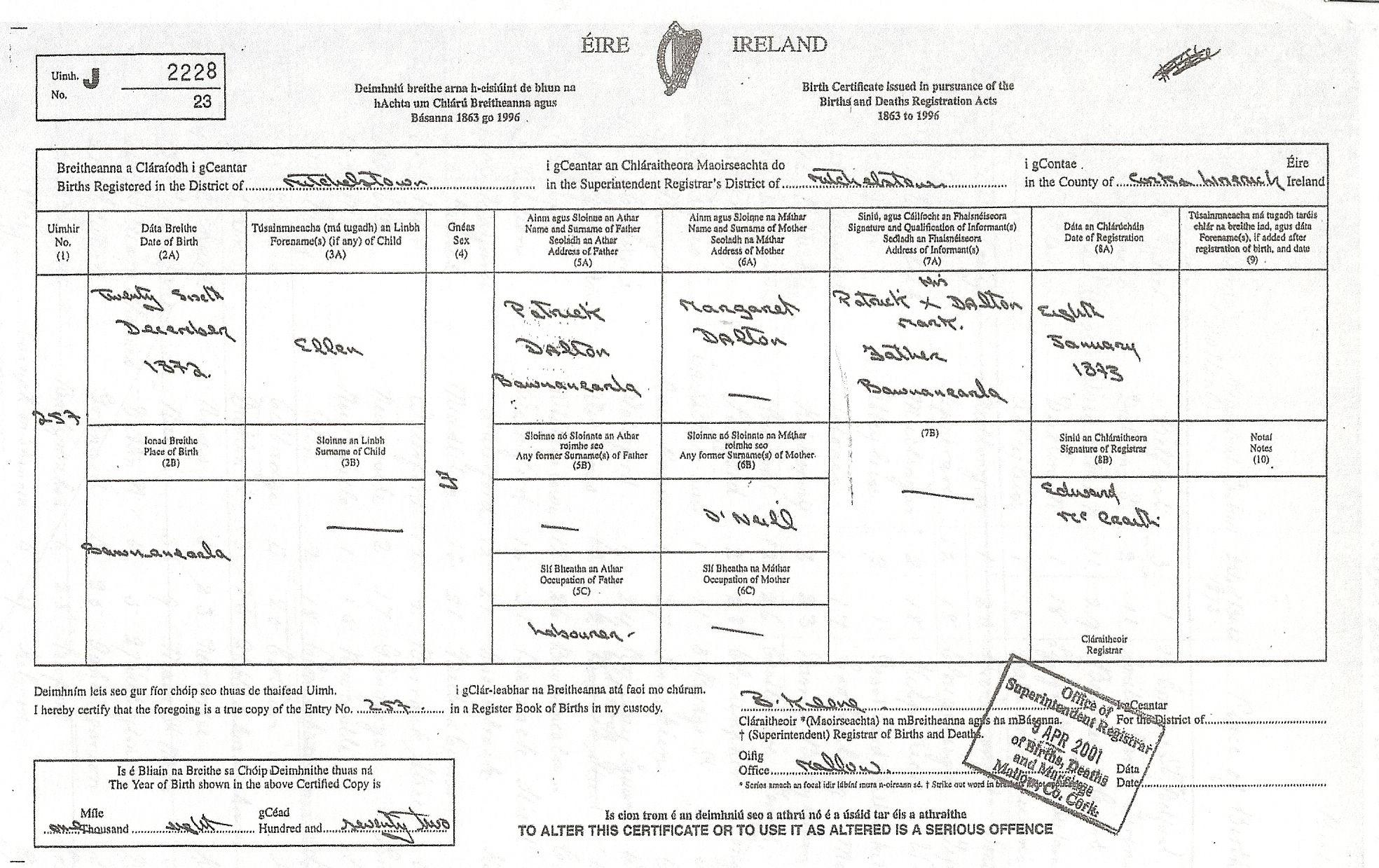 Julia dalton irish birth certificate dalton clippings julia dalton irish birth certificate dalton clippings pinterest birth certificate aiddatafo Image collections