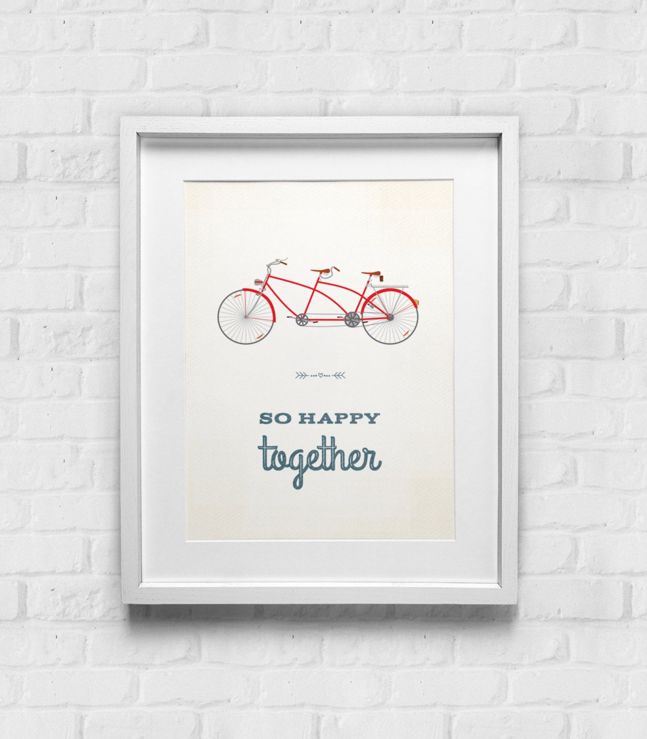 Couples Wall Art So Happy Together Bike Print, Home Decor Typographic Tandem Bicycle Poster, Vintage Bicycle, Retro Bike Art, Wall Decor Art by GulfRoad on Etsy