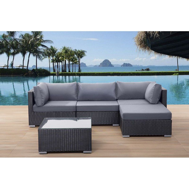 Outdoor Velago Sano Wicker 5 Piece Sectional Patio Conversation Set - gartenmobel set alu 5 teilig