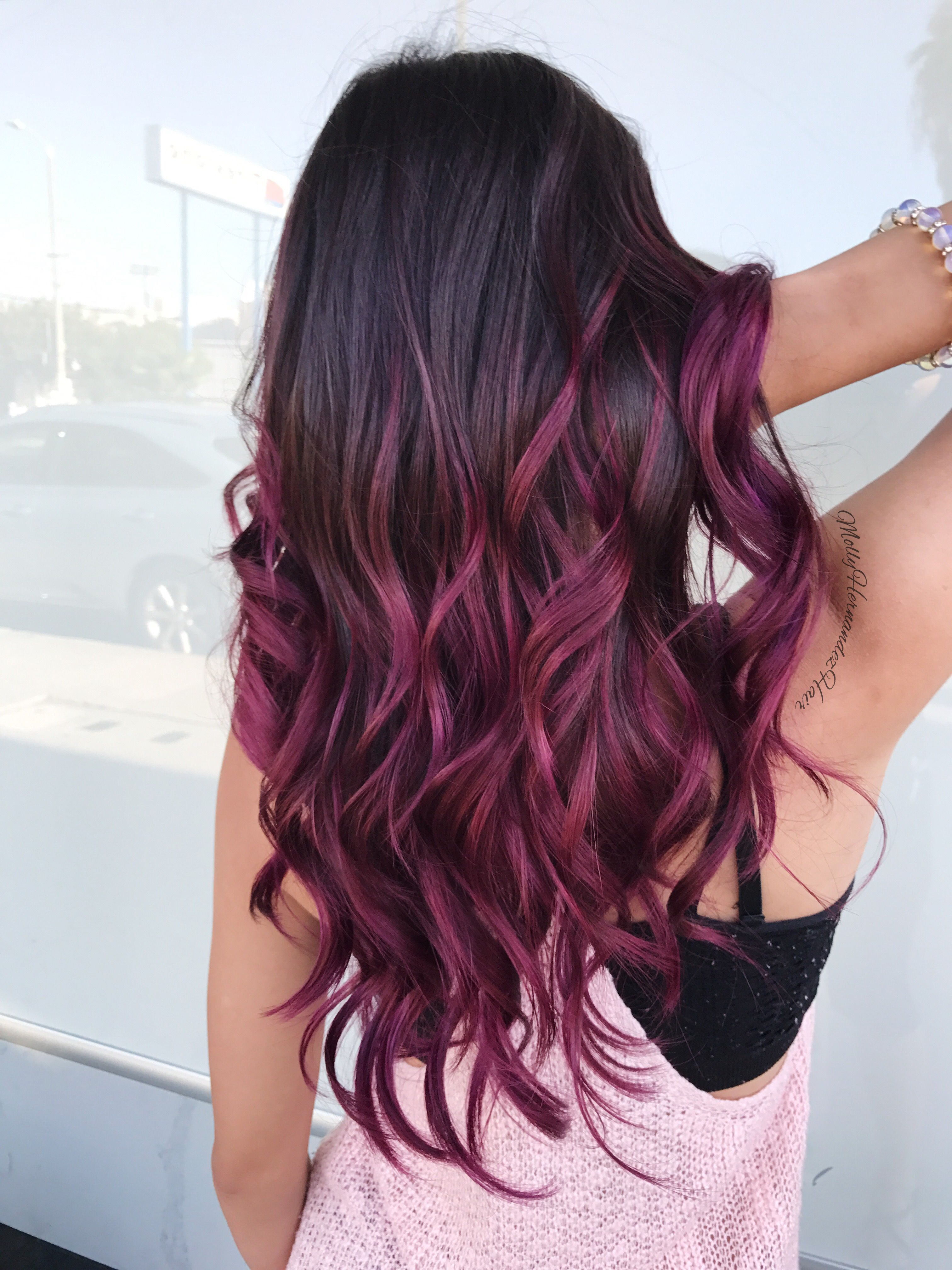 Burgundy ombré purple & magenta balayage hair goals