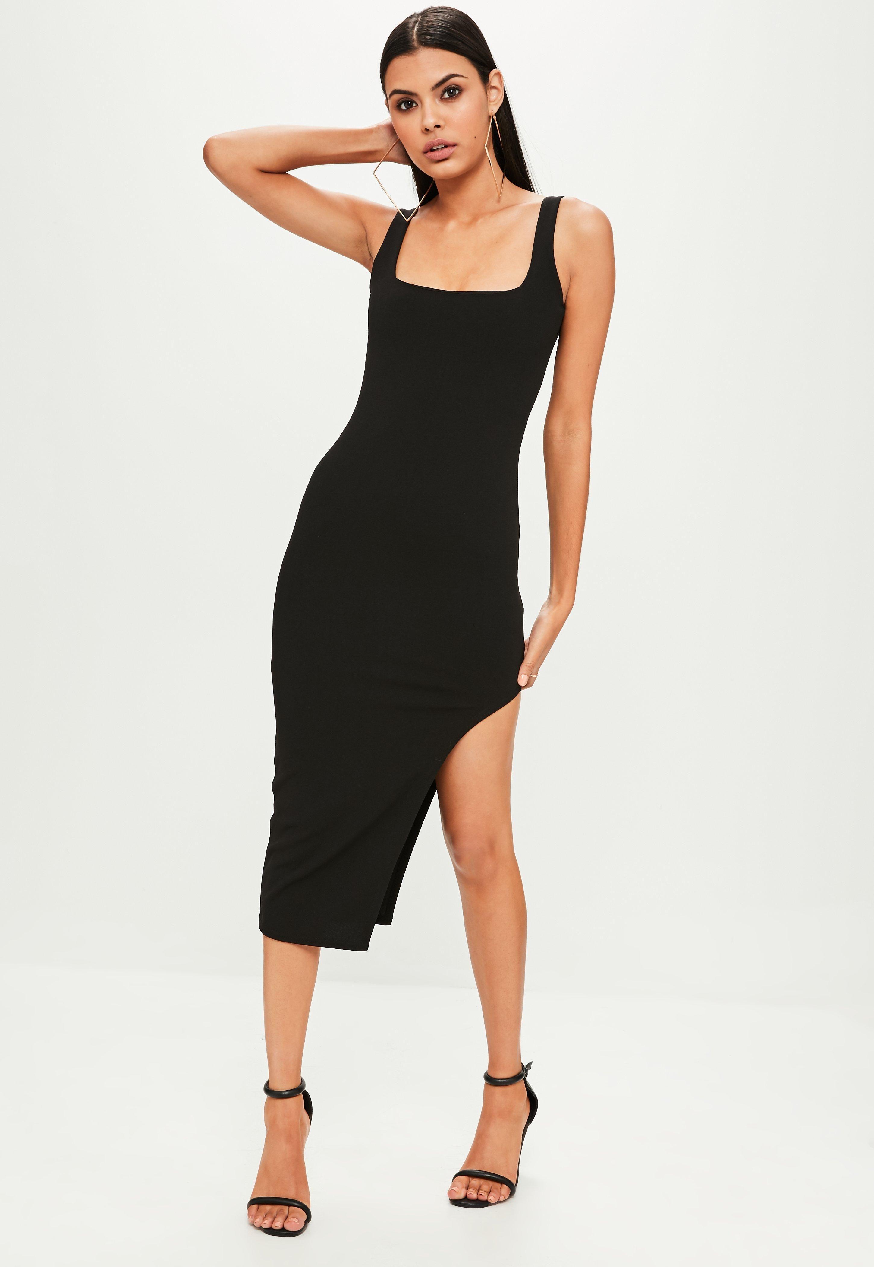 Missguided Black Sleeveless Square Neck Midi Dress Amanda Midi Dress Dresses Amanda Dress [ 4200 x 2900 Pixel ]