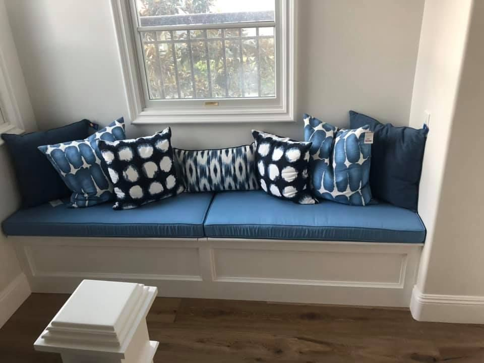 Customer Photo And Review I Love My Custom Cushions Bench The Blue Matched My Pillows Perfectly Fro Indoor Outdoor Furniture Furniture Indoor Furniture