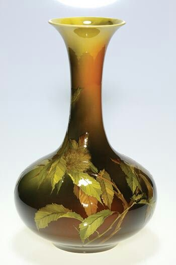 ~Rookwood~Artist: Albert R. Valentien~Circa 1891~Leaves, Stems And A Single Spiny Chestnut Pod-Tall Standard Glaze Vase~