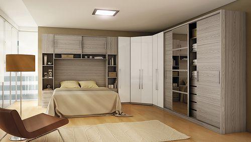 Armario de quarto em L com cama casal Pesquisa Google  ~ Quarto Planejado Solteiro Rj
