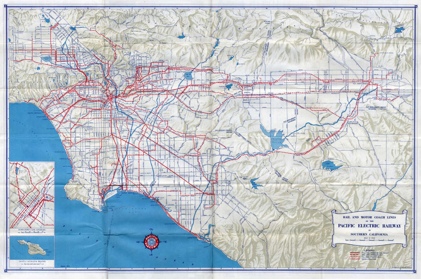 1947 Pacific Electric Railway route map | California | City ... on california interstate map and towns, california map with cities printable, california nevada map with cities, northern california map with cities, california state freeway map, map of california cities, california coast map with cities, california state map with cities, california county map with cities, california highway map,