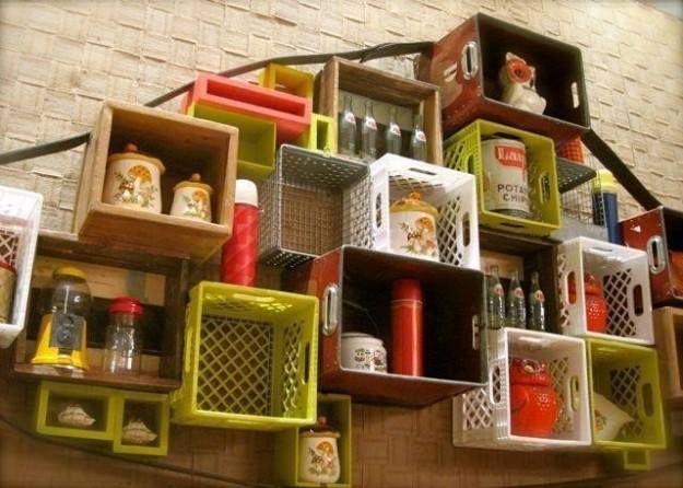 Mas De 30 Ideas Para Decorar Con Cajas De Maderas Recicladas Milk Crate Furniture Milk Crates Plastic Crates