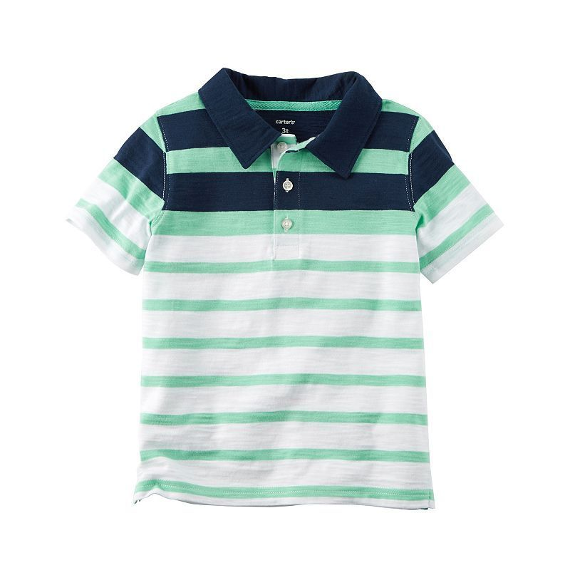 610604cd5a Toddler Boy Carter's Short Sleeve Mint Striped Polo Shirt, Size: 4T, Ovrfl  Oth
