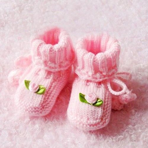 Hand Made Pink Crochet and Pink Rose Baby Boots/Socks