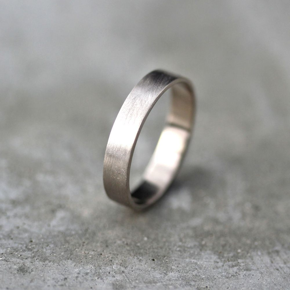 Brushed Flat Palladium White Gold Wedding Ring For Man Jewelry Gift Him