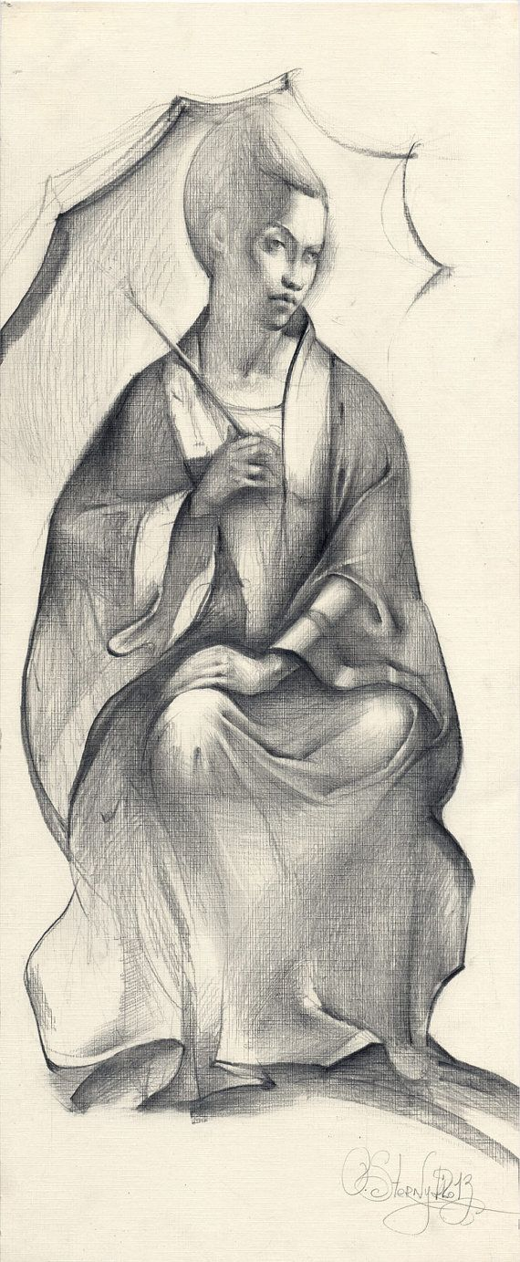 Original pencil female drawing geisha girl textured by olgasternyk 99 00