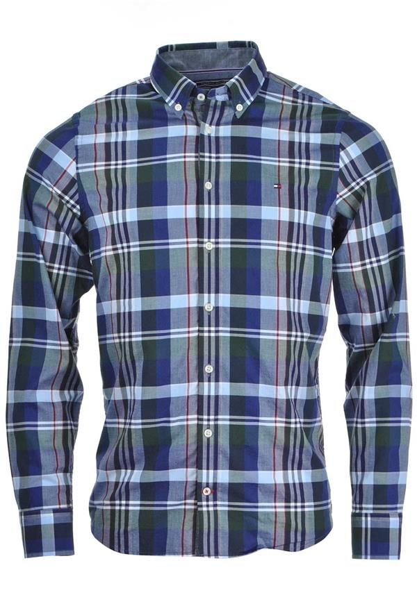 Tommy Hilfiger Mens Nate Long Sleeved Checked Shirt, Multi-Coloured | McElhinneys Department Store