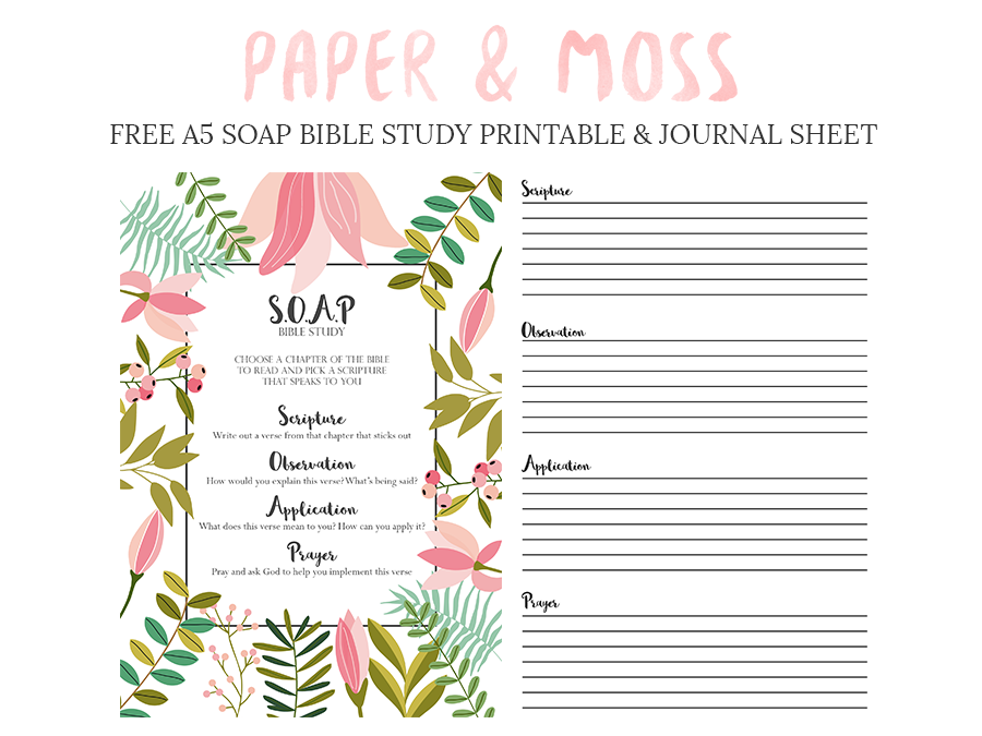 image about Soap Bible Study Printable titled S.O.A.P Bible Analyze Free of charge A5 Filofax Printable - Paper Moss