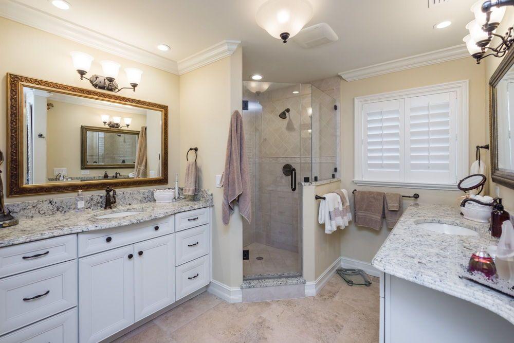 The Master Bathroom Has Dual Vanities Rich Granite Countertops - Bathroom vanities palm beach county